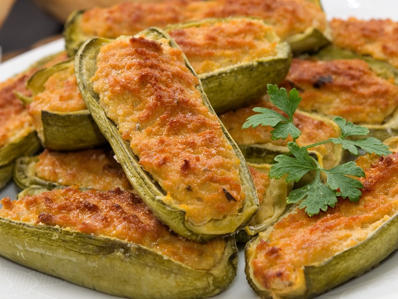 Baked Courgettes Stuffed With Ham And Pecorino Pong Cheese