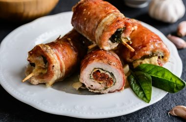 Pancetta wrapped Pork Cutlet Stuffed with Cheese