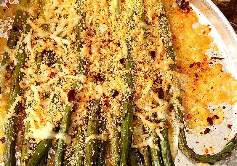Cheddar topped asparagus
