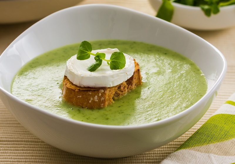 Watercress & celeriac soup with goat's cheese croutons